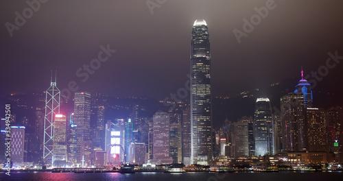 Wall mural Hong Kong city skyline night