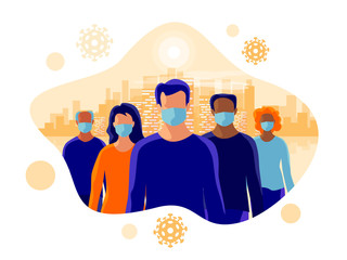 Group of people wearing protection medical face mask to protect and prevent virus, disease, flu, air pollution, contamination. Old man woman standing. Isolated vector illustration with city skyline.
