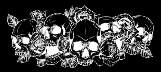 Poster Crâne aquarelle Skull and roses in black background Vector illustration