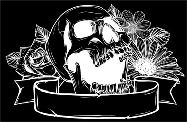 Skull and Flowers in black background, Vector illustration