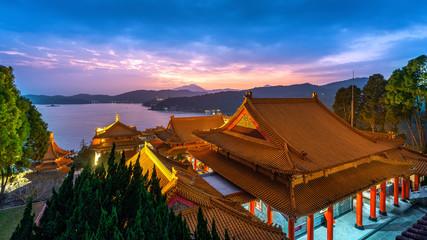 Wall Mural - Wenwu temple and Sun moon lake at twilight, Taiwan.