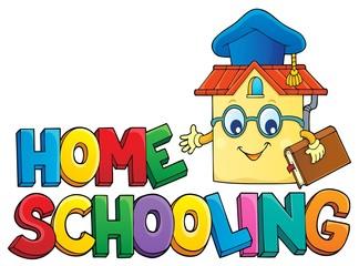 Photo sur Aluminium Enfants Home schooling theme sign 6