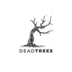 dead trees logo design vector