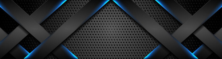 Futuristic black perforated technology background with blue neon lines. Glowing vector banner design Wall mural