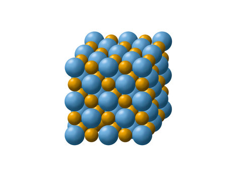 Sodium chloride (NaCl) molecule structure in 3d Show structure of Ionic bond between molecule in cubic shape.