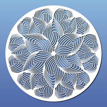 Laser cut template. Round panel or mandala for room wall art decor or cutting coaster. Vector illustration