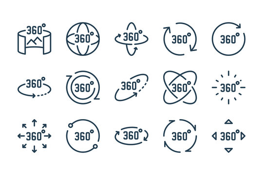 360 degree and panoramic rotation line icon set. Virtual reality vector outline icons.