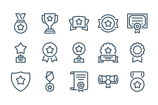 Award and Prize line icons. Trophy and Achivement vector icon set.