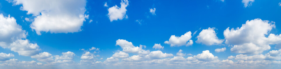 Panorama Blue sky and white clouds. Bfluffy cloud in the blue sky background