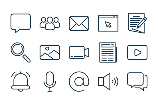 Media, Blog, Communication and Website navigation related line icon set. Media entertainment linear vector icons.