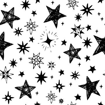 hand-drawn black stars on a white background, seamless vector pattern use for textile, wrapping, stationery