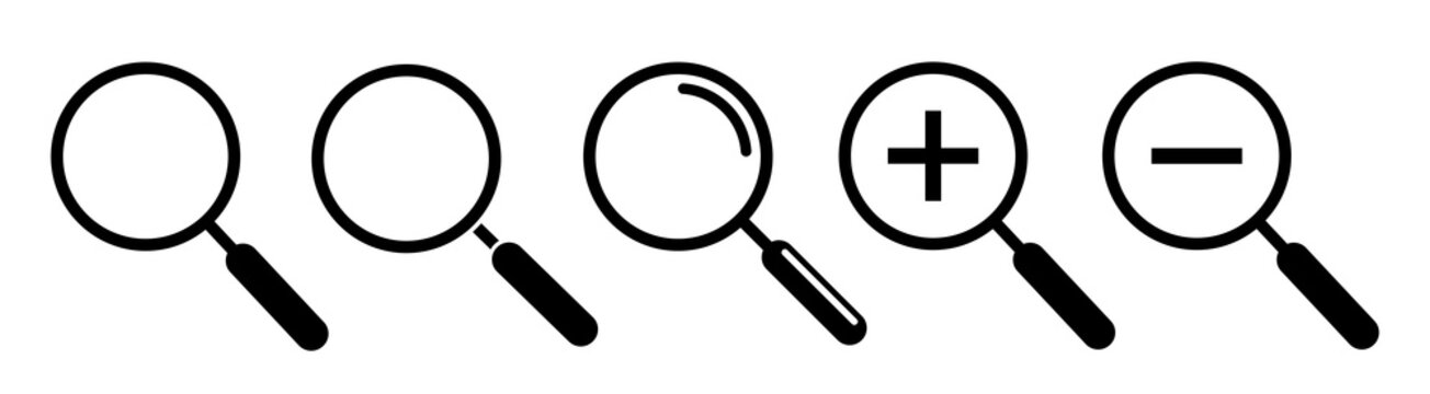 Magnifying glass, search icons. Vector illustration