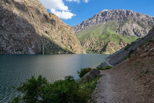 The beautiful seven lake trekking destination. View on the lake number seven of the Fan Mountains in Tajikistan, Central Asia