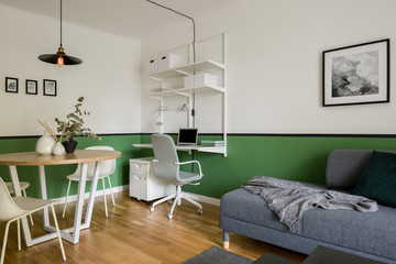Stylish apartment with green walls