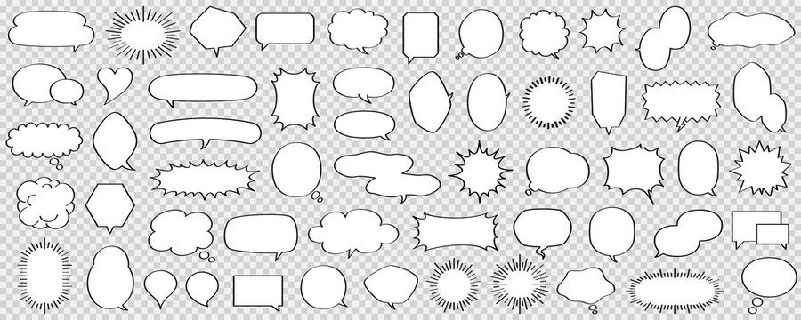 Black and white speech bubble set of various shapes