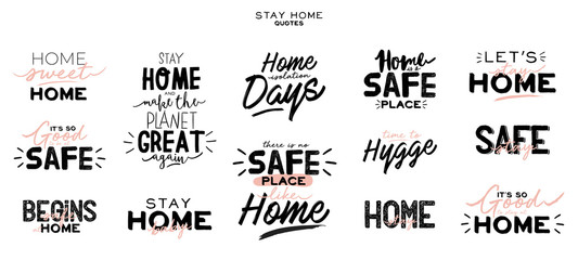 Foto op Canvas Positive Typography Set of hand lettering with Coronavirus messages for stay home. Protect from Covid-19 epidemic handwritten hashtag. Self-isolation and quarantine phrases for social media, banners, web, stickers, tags