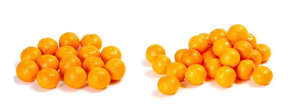 tangerines or mandarins isolated on white background