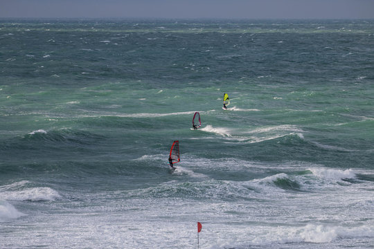 windsurfing on the Black Sea coast photo in the afternoon