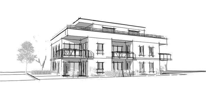 Plan d'un petit immeuble résidence moderne avec balcon et jardin en co-propriété