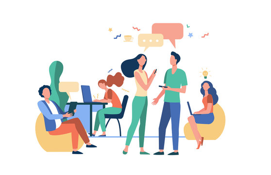 Hipster people talking and using computers in co-working. Creative team meeting and working in open space. Vector illustration for workplace, teamwork, business concept