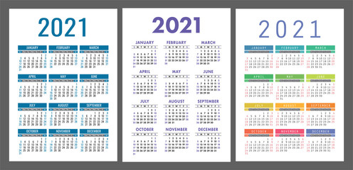 Calendar 2021 year set. Vector pocket or wall calender template collection. Simple design. Week starts on Sunday. January, February, March, April, May, June, July, August, September, October
