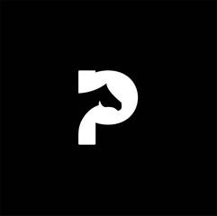 p letter horse logo design template