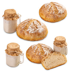 Deurstickers Brood Set of freshly baked bread