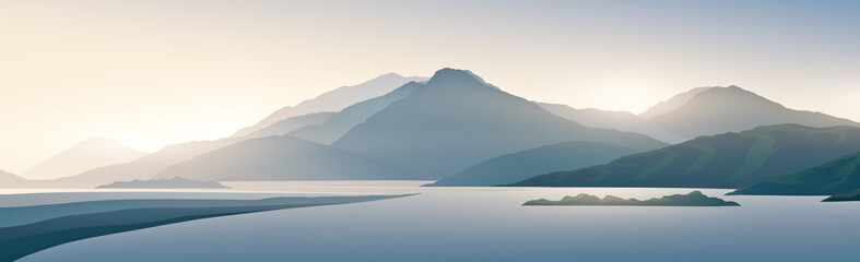 Mountain panoramic landscape with the silhouettes of the mountains against the dawn. Raster illustration.