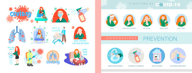 COVID-19 symptoms of coronavirus, 2019-nCoV alert, set of isolated vector illustration Fotomurales