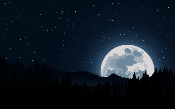 moon over the mountains