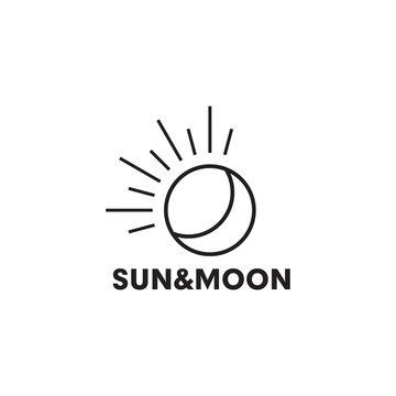 Sun and moon logo design vector template