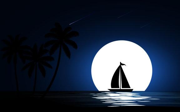 sailing boat at night