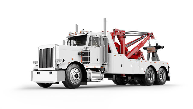 Wrecker Tow Truck 3D rendering isolated on white background.