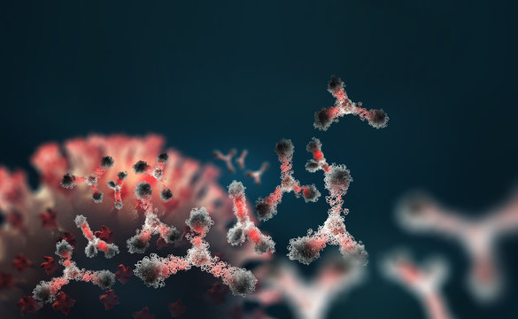 Virus protection. Vaccine search. Antibodies and viral infection. Immune defense of the body. Attack on antigens 3D illustration