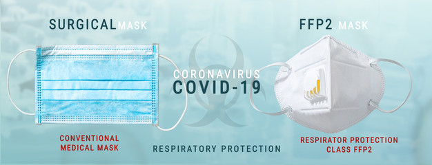 Anti virus protection mask ffp2 and surgical mask standart to prevent corona COVID-19 infection Fototapete