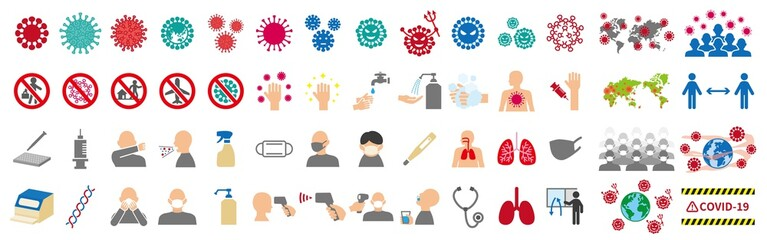 Fototapeta 新型ウイルスに関連したアイコンセット obraz