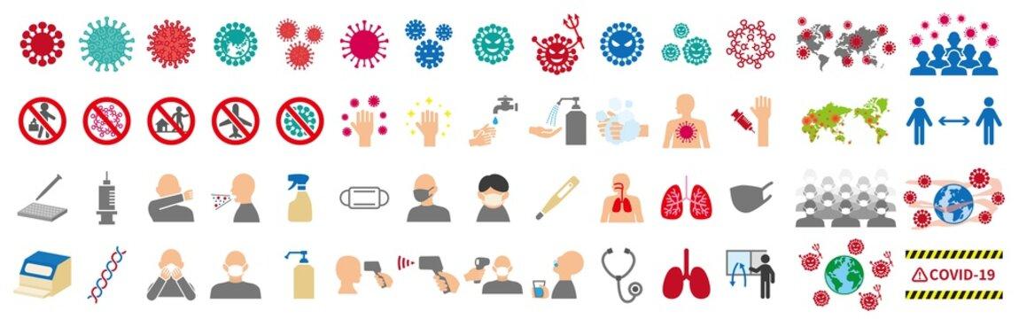 新型ウイルスに関連したアイコンセット
