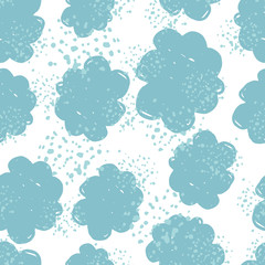 Abstract cloudy texture wallpaper. Hand drawn cloud sky seamless pattern.