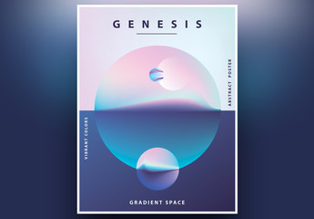 Abstract Geometric Poster Layout with Semi-Surreal Landscape