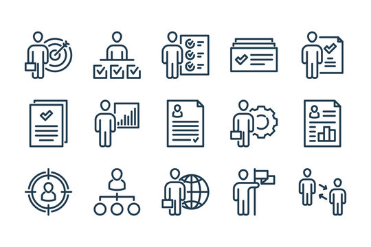 Human Resource and Job Hunting related line icons. Recruitment and Hiring vector icon set.