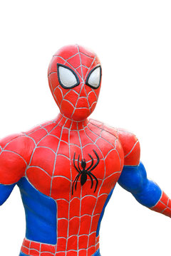 Spider-Man model isolated on white background, with Clipping Path.