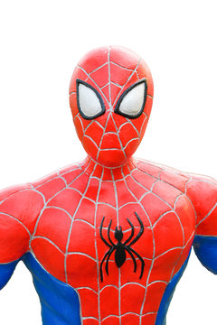 Spider-Man model isolated on white background. with Clipping Path.