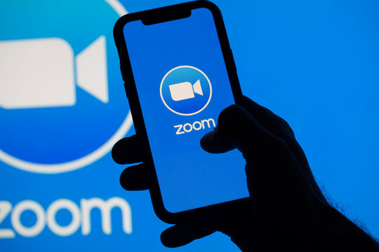 LONDON, UK - April 2nd 2020: Popular Zoom video conference app icon on a mobile device