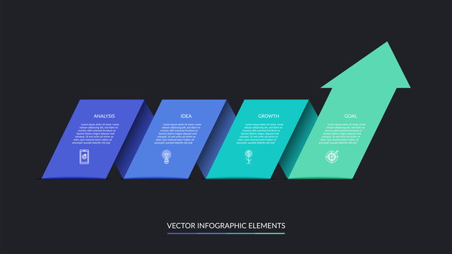 Vector infographic arrow progress chart with 4 steps. Can be used for web design, timeline, diagram, graph, business presentation.