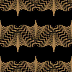 Art deco design. Abstract geometric seamless pattern with golden ornament on black background. Vintage decorative texture. Modern stylish luxury illustration for wallpaper, web page, textile.