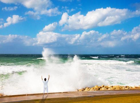 High foamy surf on Tel Aviv