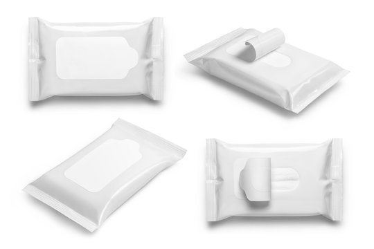 Collection of white wet wipes flow packs, isolated on white background
