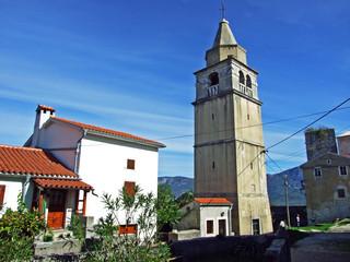 Fototapeta The bell tower of the Parish Church of St. Anthony the Abbot, Krsan - Istria, Croatia (Zvonik zupne crkve sv. Antuna opata, Krsan - Istra, Hrvatska) obraz