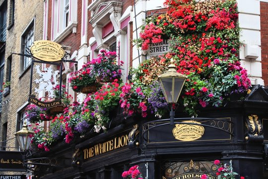 LONDON, UK - JULY 14, 2019: The White Lion pub in Covent Garden area of London. There are more than 7,000 pubs in London.