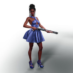 Black Girl with Shotgun